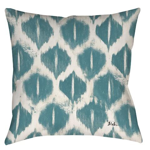 Manual Woodworkers Blue Ikat Indoor/ Outdoor Throw Pillow