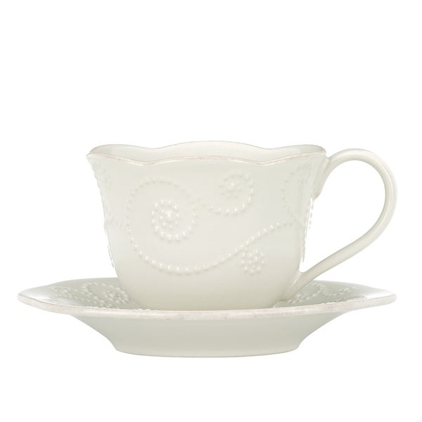 Lenox French Perle White Cup and Saucer Set