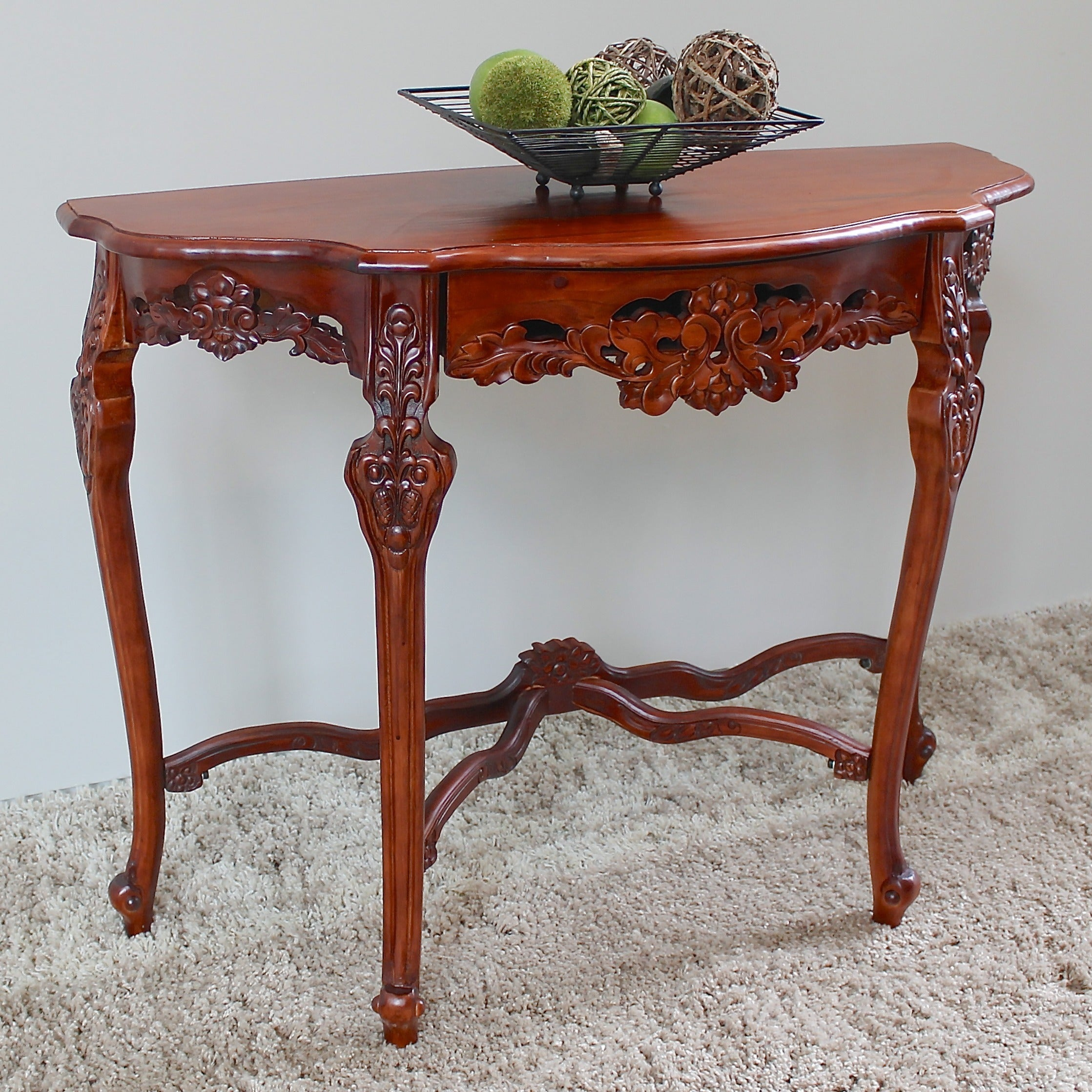 Delicieux Oriental Furniture Walnut Hand Carved Wood Half Moon Wall Table, Free  Shipping