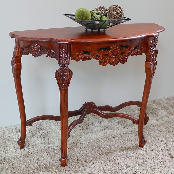 International Caravan Windsor Ornately Hand-carved Wood Half-moon Wall Table