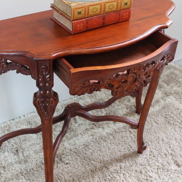 International Caravan Windsor Ornately Hand Carved Wood Half Moon Wall Table    Free Shipping Today   Overstock.com   16190715