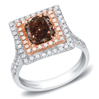 Auriya 14k White Gold 1 3/4ct TDW Cushion Brown Diamond Ring (H-I, SI1-SI2)