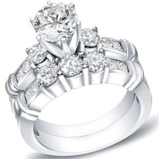 Auriya 14k Gold 2 1/3ct TDW Certified 3-Stone Diamond Engagement Ring Bridal Set