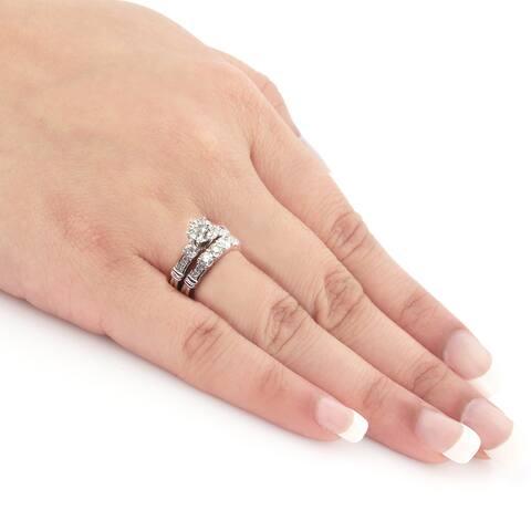 Auriya 14k Gold 2 1/3ctw 3-stone Diamond Engagement Ring Set