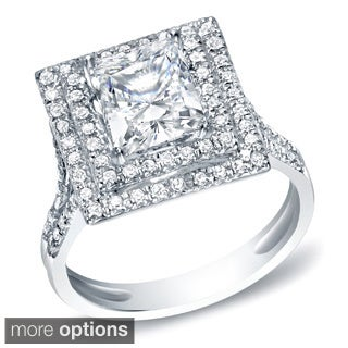 Auriya 14k Gold 1 1/2ct TDW Certified Princess Halo Diamond Engagement Ring (H-I, SI1-SI2)