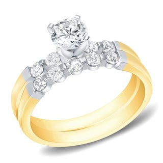 Auriya 14k Two-tone Gold 1ct TDW Certified Round Diamond Bridal Ring Set