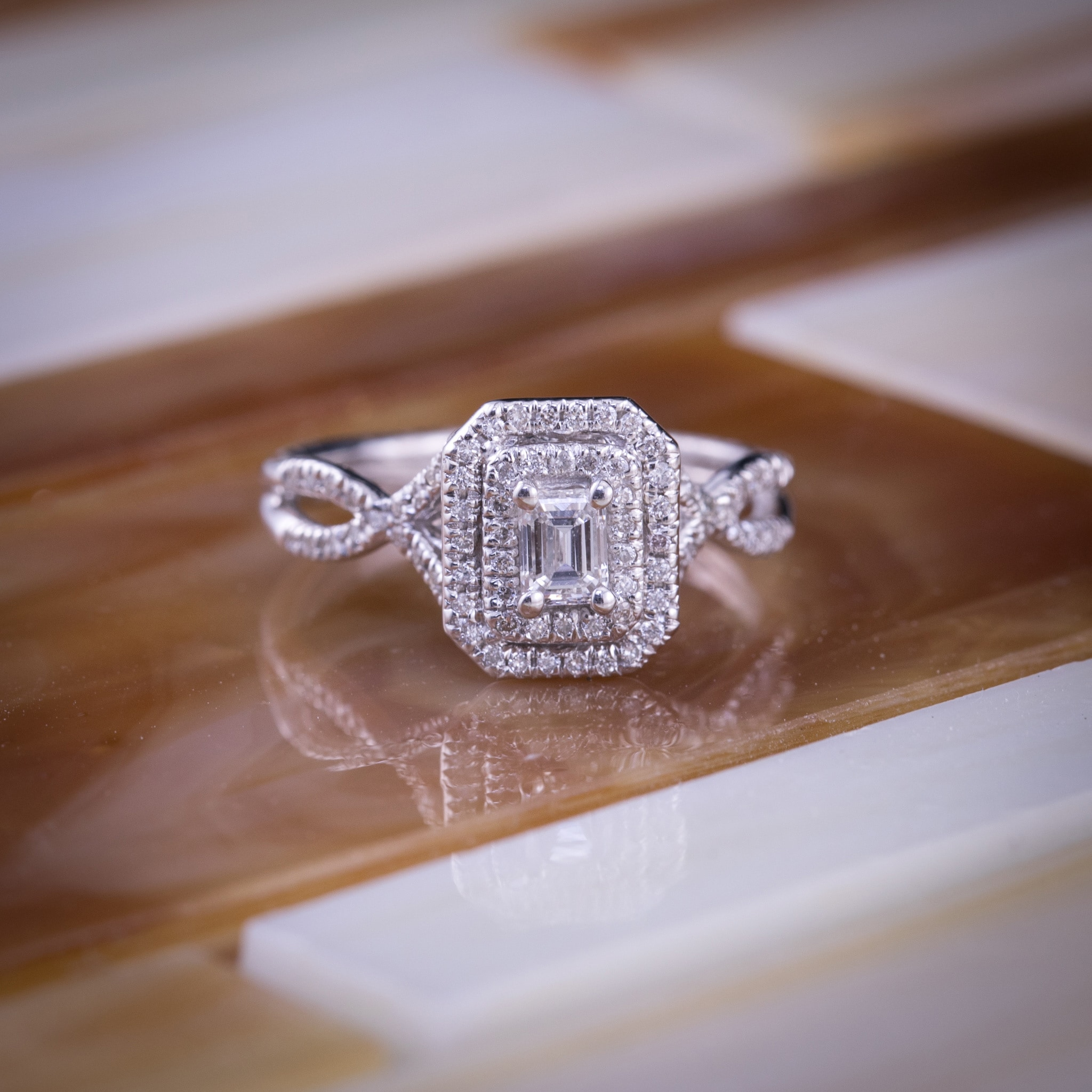 Auriya 14k Gold 4 5ctw Emerald Cut Double Halo Diamond Engagement Ring Overstock 8984642