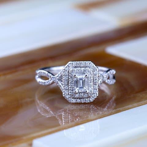 Auriya 14k Gold 4/5ctw Emerald-cut Double Halo Diamond Engagement Ring