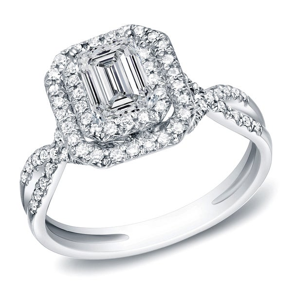 14k White Gold 4/5ct TDW Emerald-Cut Diamond Double Halo Engagement Ring