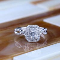 14k Gold 4/5ct TDW Emerald-Cut Double Halo Diamond Engagement Ring