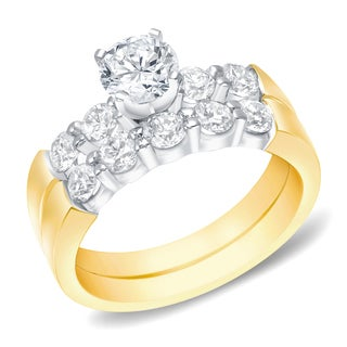 Auriya 14k Two-tone Gold 1 1/2ct TDW Round Diamond Bridal Ring Set (H-I, SI1-SI2)