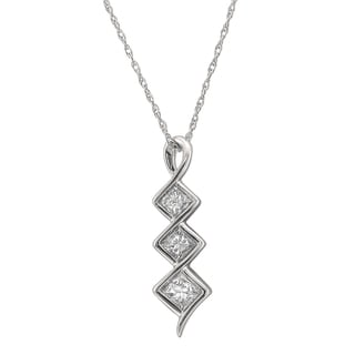 Montebello 14k White Gold 1/2ct TDW Princess-cut Graduating Diamond Pendant (G-H, SI2-I1)