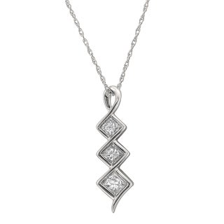 Montebello 14k White Gold 1/2ct TDW Princess-cut Graduating Diamond Pendant