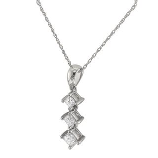 Montebello 14k White Gold 1/2ct TDW Graduated Diamond Journey Necklace (G-H, I1)