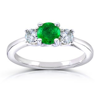 Annello by Kobelli 14k White Gold 1/5ct TDW Diamond and Emerald Three-stone Ring (G-H, I1