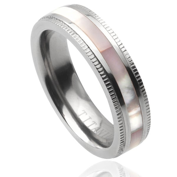 Journee Collection Titanium Abalone Inlay Band