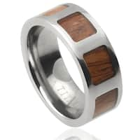 Vance Co. Men's Titanium Wood Inlay Panel Band