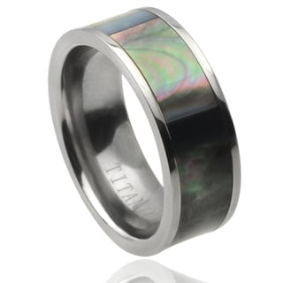 Vance Co. Men's Titanium Abalone Inlay Panel Band