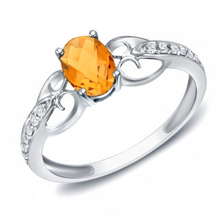 Auriya 14k White Gold Citrine and Diamond Fashion Ring (H-I, SI1-SI2)