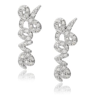 Journee Collection Sterling Silver Cubic Zirconia 'Love' Earrings