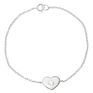Journee Collection Tresss Collection Sterling Silver Cubic Zirconia Heart Bracelet