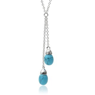 Journee Collection Sterling Silver Faux Turquoise Tear-drop Pendant Necklace