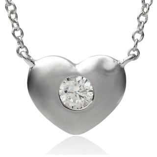 Journee Collection Sterling Silver Cubic Zirconia Heart Pendant Necklace