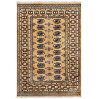 Herat Oriental Pakistani Hand-knotted Bokhara Gold/ Ivory Wool Rug (4' x 5'10)