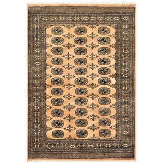 Herat Oriental Pakistani Hand-knotted Bokhara Tan/ Ivory Wool Rug (4'2 x 6')