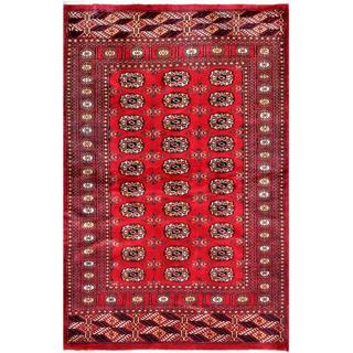 Herat Oriental Pakistani Hand-knotted Bokhara Red/ Ivory Wool Rug (4'1 x 6'2)