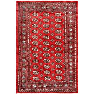 Herat Oriental Pakistani Hand-knotted Bokhara Red/ Ivory Wool Rug (4'2 x 6')