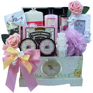 Victorian Lace Gourmet Food and Spa Gift Basket Set with Clock
