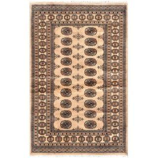 Herat Oriental Pakistani Hand-knotted Bokhara Tan/ Gold Wool Rug (4'1 x 6'2)