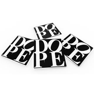 Maxwell Dickson 'DOPE-Black' Glass Coaster Set