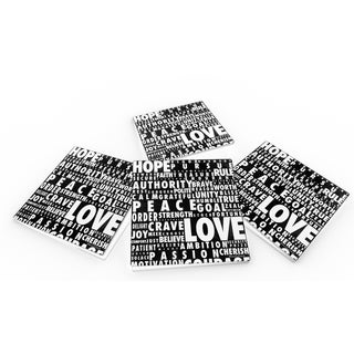 Words Speak Crystal Clear Glass Coaster (Set of 4 or 6)