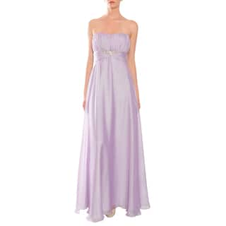 Mikael Aghal Women's Lilac Strapless Rhinestone-waist Evening Gown|https://ak1.ostkcdn.com/images/products/8984841/Mikael-Aghal-Womens-Lilac-Strapless-Rhinestone-waist-Evening-Gown-P16190905.jpg?impolicy=medium