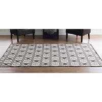 Linon Foundation Collection Brown Ikat Reversible Rug (5' x 8') - 5' x 8'