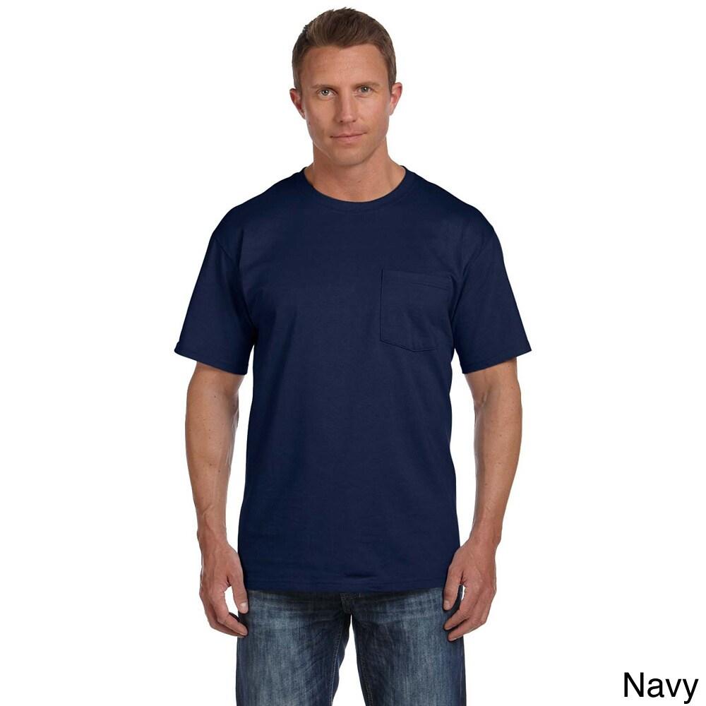 Fruit of the Loom Mens 4-Pack Pocket Crew Neck T-Shirt Navy Blue Medium