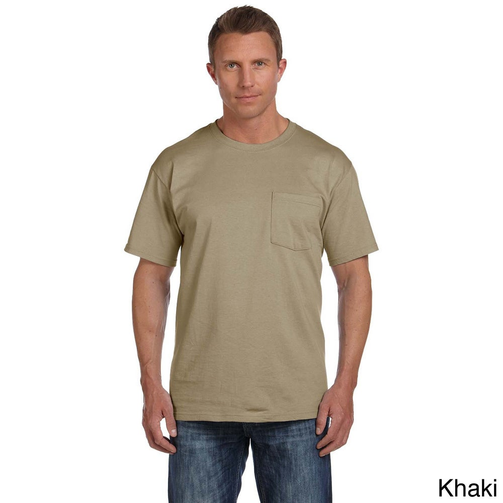 Fruit Of The Loom Fruit Of The Loom Mens Heavyweight Cotton Chest Pocket T shirt Khaki Size XXL