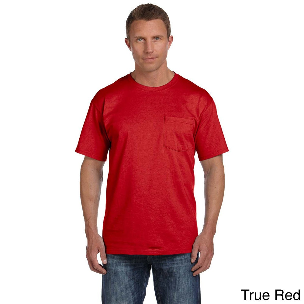 Fruit Of The Loom Fruit Of The Loom Mens Heavyweight Cotton Chest Pocket T shirt Red Size XXL