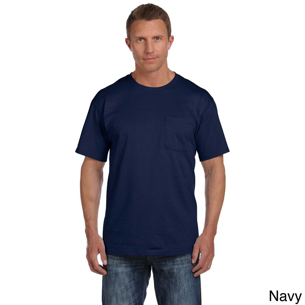 Fruit Of The Loom Fruit Of The Loom Mens Heavyweight Cotton Chest Pocket T shirt Navy Size XXL