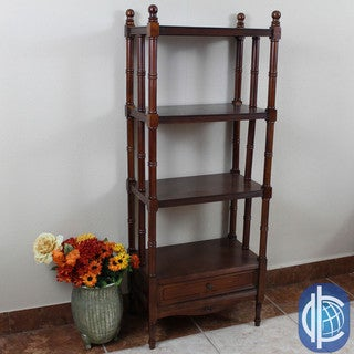 International Caravan Windsor 4-tier/ 1-drawer Hand-carved Hardwood Bookshelf