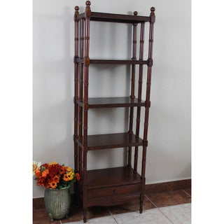 International Caravan Windsor 5-tier/ 1-drawer Hand-carved Hardwood Bookshelf