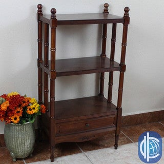International Caravan Windsor Carved Hardwood 3-tier/ 1-drawer Bookshelf