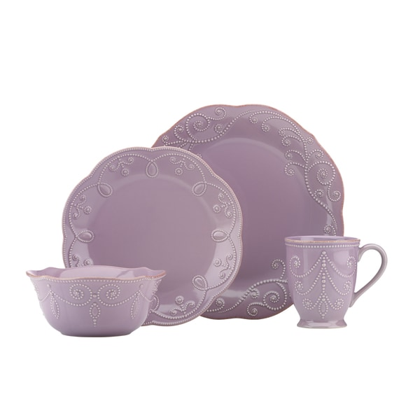 Lenox Violet French Perle 4-piece Dinnerware Set  sc 1 st  Overstock.com & Lenox Violet French Perle 4-piece Dinnerware Set - Free Shipping ...