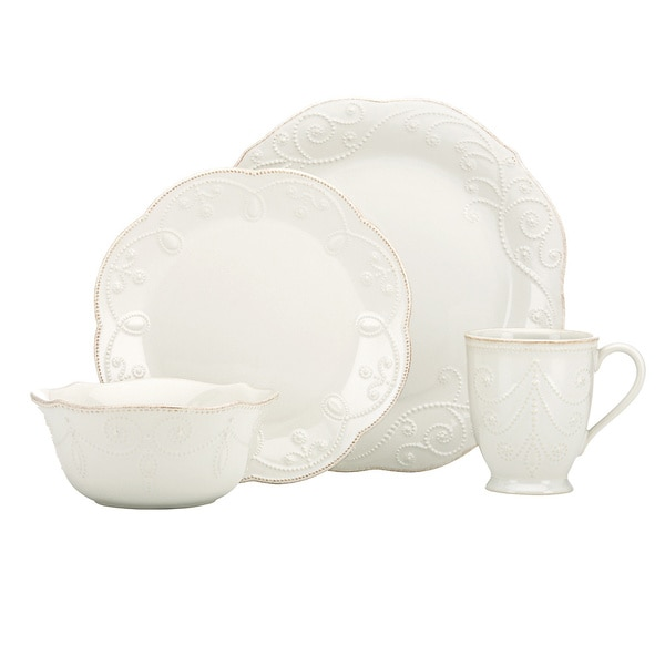 Lenox White French Perle 4-piece Dinnerware Set  sc 1 st  Overstock & Lenox White French Perle 4-piece Dinnerware Set - Free Shipping On ...