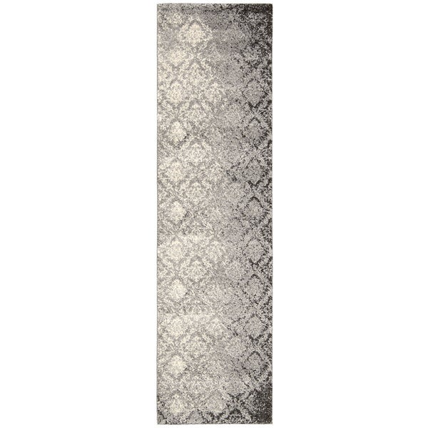 kathy ireland Santa Barbara Style Royal Shimmer Grey Shag Area Rug (2'2 x 8') by Nourison - 2'2 x 8'