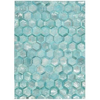 Michael Amini City Chic Turquoise Area Rug by Nourison (5'3 x 7'5)