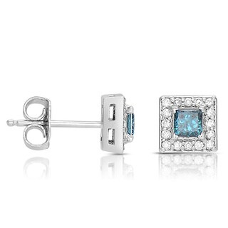 Eloquence 14k White Gold 1/2ct TDW Blue and White Diamond Earrings