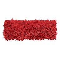 Hand-woven Jersey Shaggy Red Cotton Runner Rug (2' x 6')
